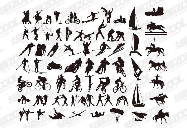Todos os tipos de acção esportes vector silhueta material-2