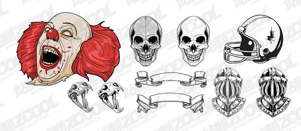 Material de vectores de cráneos casco cráneo payaso