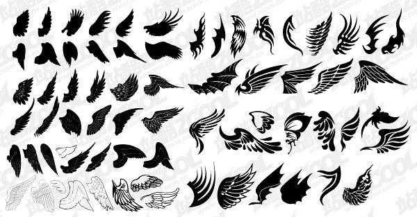 Количество изысканными крылья векторного материала