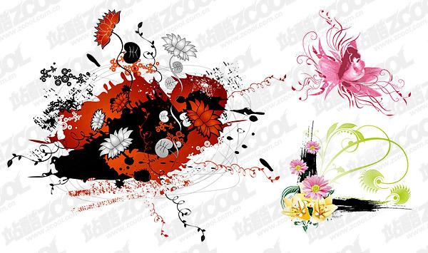 fleurs de différents vecteurs matériel