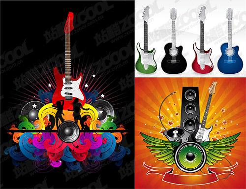 Matériau de vecteur pour le thème guitare