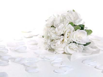 Ramos de flores y pétalos de rosas blancas