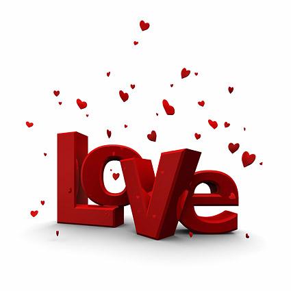 Modelado tridimensional de 3D amor palabra imagen