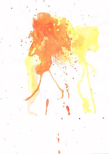 インク水彩画の画像素材-037 前に