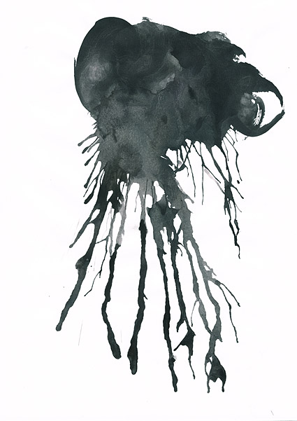 インク水彩画の画像素材-027 前に