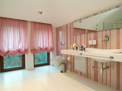 O material de imagem moda casa de banho-de-rosa de estilo