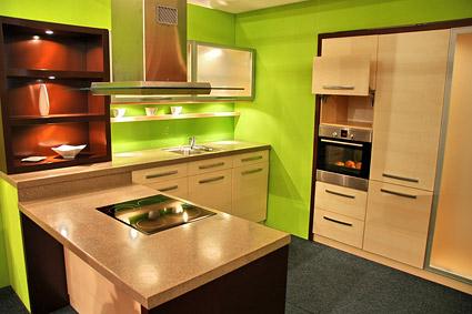 โทนสีแฟชั่นสีเขียวของวัสดุรูปภาพห้องครัว
