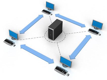 Jaringan komputer 3D yang menghubungkan gambar bahan-10