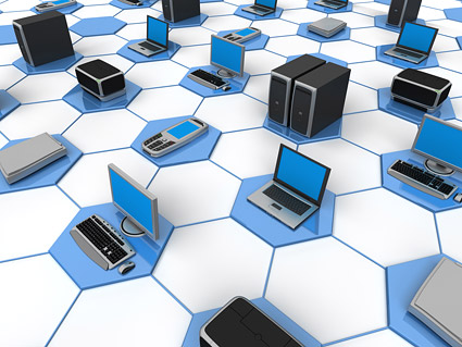 Rede de computador 3D conectando imagem material-12