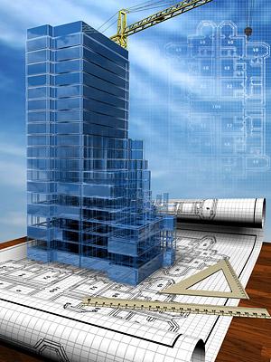 Edificios en 3D y la planta -3