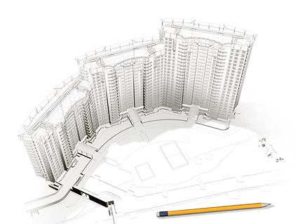Edificios en 3D y la planta -6