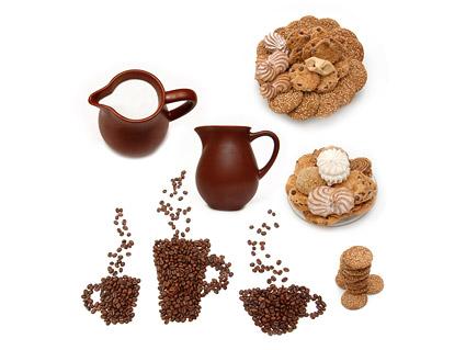 Material de imagem de qualidade de café leite de sobremesa