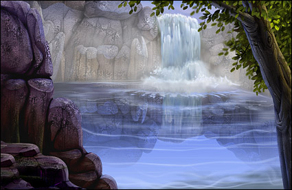 Psd 材料の風光明媚な滝の流れる水