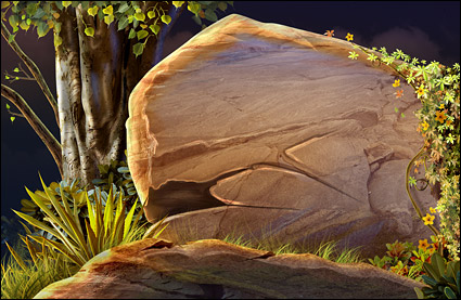 森の中の石します。