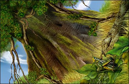 Baum und Heuschrecken