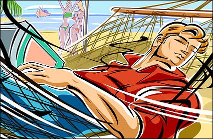 Illustrations - les plages, les hamacs, les hommes de personnes.