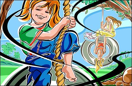 Ilustraciones de figuras pintadas a mano - swing, chicas