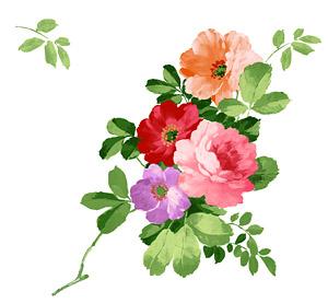 Bunga-bunga yang dilukis tangan berlapis materi psd-3