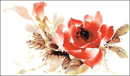 Psd 層状バラの水彩スタイル