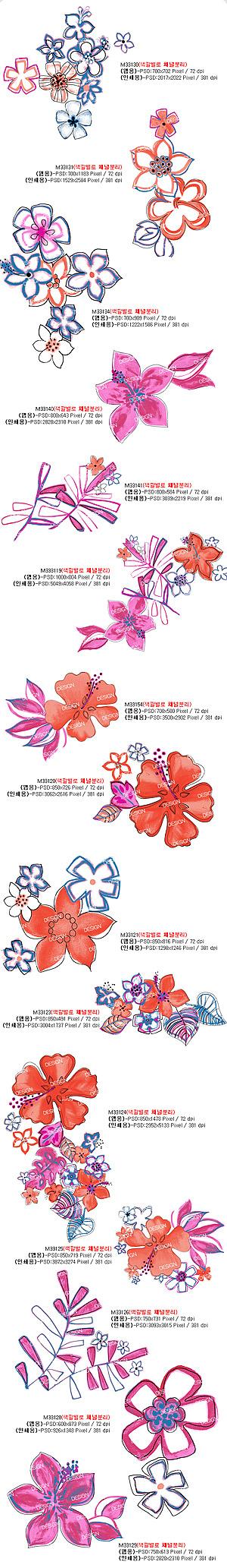 Mit Ebenen PSD Mode handgemalten florale Mustern material