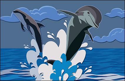 Psd ของ dolphins ที่กระโดดชั้นวัสดุ