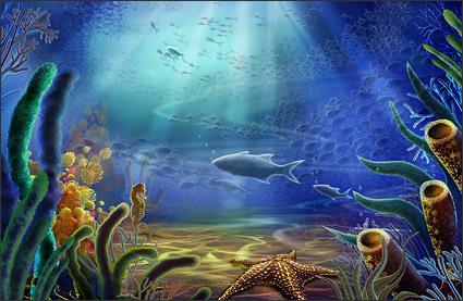 水中の世界 - ヒトデ、海馬、魚、海藻層状 psd の素材