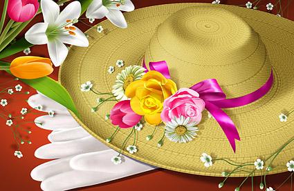 ดอกไม้และหมวก