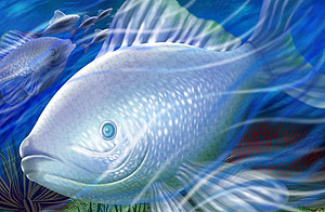 Peixes de profundidade psd em camadas de material