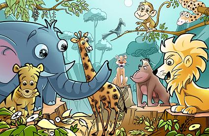Лес мультфильм животных psd слоистых материалов