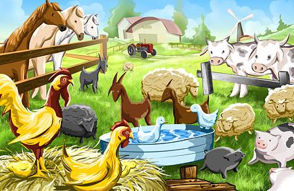 PSD-Bauernhof-Cartoon-Illustrationen Schichten material