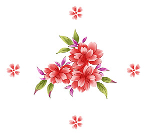 Bunga-bunga yang dilukis tangan berlapis materi psd-7