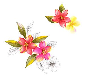 Flores pintados a mano por capas de material psd-8