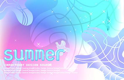 夏の韓国風背景素材 psd 4 層