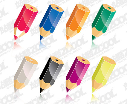 Crayon de couleur vecteur matériel-2
