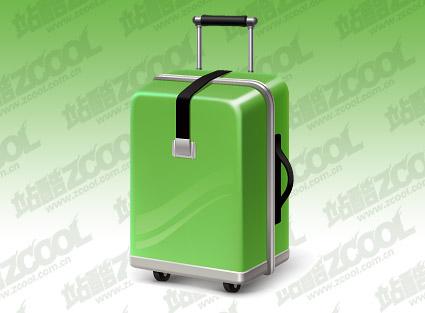 Зеленый чемодан вектор