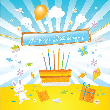 Cumpleaños precioso material de ilustración de vectores de tema