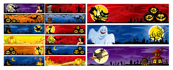 Halloween decoration material banner banner vector