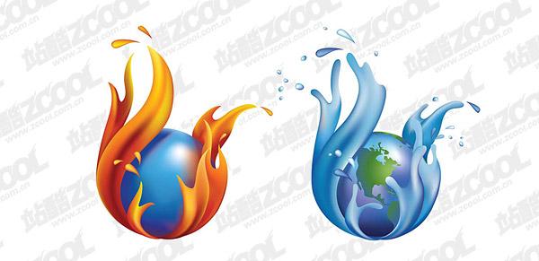 Stadt-Wasser und die Erde-Vektor-material