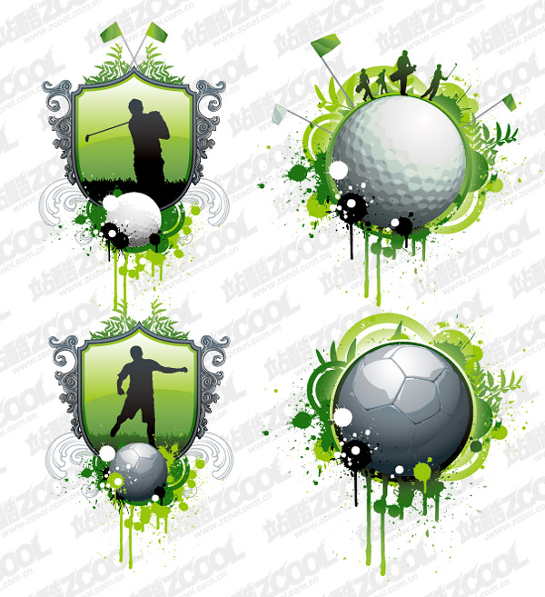 Golf and football theme vector material