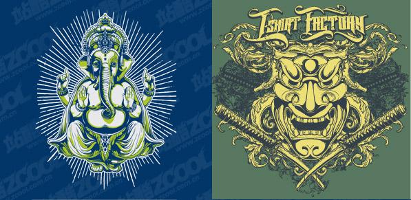 Deification theme t-shirt design vector