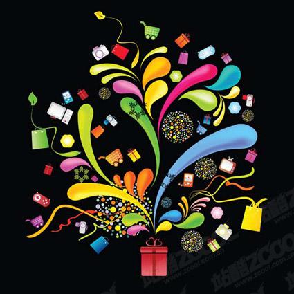 День подарков темы векторные иллюстрации материал