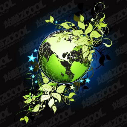 Vector material de hoja verde de la tierra