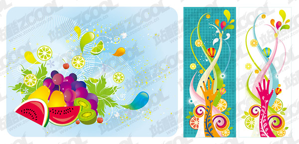 The trend of colorful fruit theme vector material