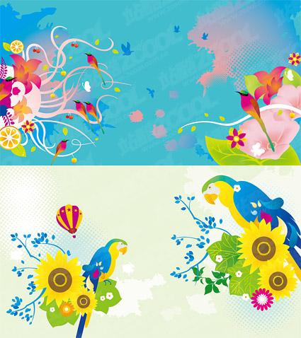 Coloridas aves tema de vector material