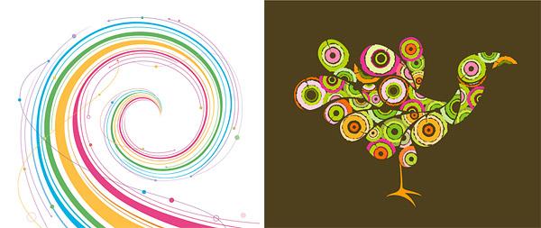 Líneas de rotación de pavo real y gráficos
