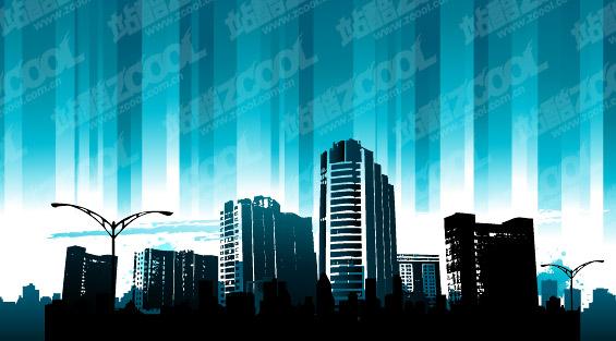 Material azul de ciudad de vectores