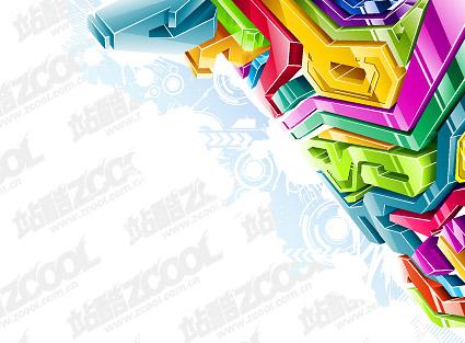 Style de couleur cristal 3D tridimensionnel