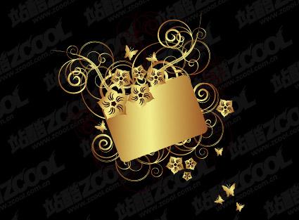 Material de vetor de padrão de borboleta dourada