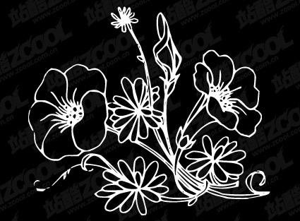 Baimiao ดอกไม้ vector วัสดุ