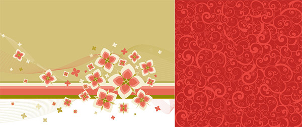 사랑 스러운 꽃과 패션 패턴